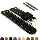 Riveted Suede Genuine Leather Watch Strap Band 20 22 24 Aviator Style - MM