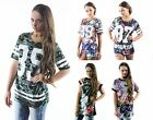 New Ladies Womens Floral Celeb Style Oversized T Shirt Sports NYC Sizes 8 - 14