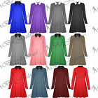 Ladies Casual Plain Jersey Collared Long Sleeves Flared Womens Swing Dress Top