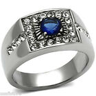 Mens 5MM Round Shape Montana Blue Stone Silver Stainless Steel Ring