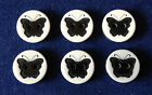 Set 6 Plastic B&W Butterfly Motif Buttons. Sewing, Craft, Scrap-booking. New