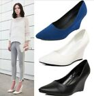 Simple pure color wedge Heel pointy toe spring autumn girls shoes wedding AU s16