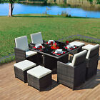 Rattan Weave Dining CUBE Table Set 8 Seater Garden Conservatory Furniture 9 PCS