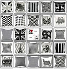 "100% Cotton Decorative Black & White Cushion Cover Decor Sofa Pillow 18""x 18"""