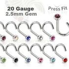 1pc. 20G (0.8mm) w/ 2.5mm Flat CZ Gem Surgical Steel Nose Screw (Choose Color)