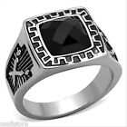 Jet Black Stone Silver Stainless Steel Ring