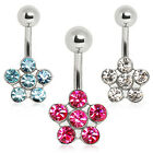 Surgical Steel Belly Bar / Navel Ring with CZ Daisy Flower - Choose Colour
