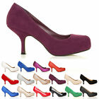 LADIES LOW MID HEEL HIGH FASHION CASUAL WORK OFFICE PUMP SHOES WOMENS SIZE 3-8