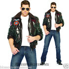 C331 Licensed Top Gun Mens Bomber Jacket Flight Pilot Deluxe Fancy Adult Costume