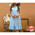 Light Blue Satin Chemise Nightie Nightwear Lingerie Nightdress Sleepwear Dress S
