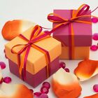 Orange & Fuchsia Silk Square Boxes & Lids Luxury Wedding Favour Party Boxes
