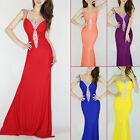 Elegant Wedding Mermaid Ball Gown Long Evening Formal Party Prom Dress Red
