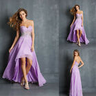 Lilac Asymmetric Beaded Formal Evening Party Dress Cocktail Prom Gowns Size 6-16