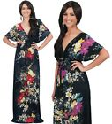 NEW Womens Floral Print VNeck Kimono Sleeve Versatile Maxi Dress S M L XL 2X