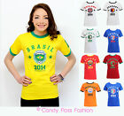 NEW WOMENS LADIES FOOTBALL WORLD CUP 2014 ENGLAND BRAZIL T-SHIRT TOP SIZE 8-14