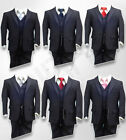 ALL IN ONE PAGE BOYS SUIT IN FINE LINE NAVY WITH A CHOICE OF TIE