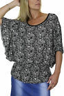 NEW (4037-1) Batwing Floral Damask Print Tunic Top Black White 8-18