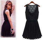 New summer fashion women black hollow lace sleeveless vest pleated slim skirts