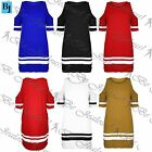 Womens Ladies Oversize Baseball Baggy Cut Out Shoulder T Shirt Vest Dress Top