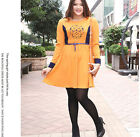 New Women Plus Large Size Beautiful Orange Polyester Comfortable Dress