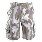 MENS 100% COTTON COMBAT CARGO SHORTS Desert camo Army Gents stonewashed para