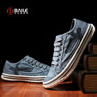 Mens Jeans Sneakers Casual Canvas lace up low-Top Stone-Washed Shoes blue/gray