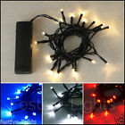 BATTERY OPERATED 20 LED FAIRY STRING CHRISTMAS PARTY LIGHTS BLACK CABLE 2 METRES