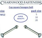 Cup square hexagon (CSH) Coach bolts, including nuts Zinc Plated M12