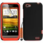 Orange Silicone Hybrid Case Cover For HTC ONE V + Screen Protector Stylus Pen