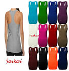 New Ladies Long Racer Back Bodycon Muscle Vest Womens Top UK Size 8-14