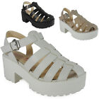 WOMENS LADIES ANKLE STRAPS HIGH HEEL TREAD FLATFORMS SHOES CHUNKY SANDAL SIZE UK