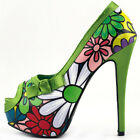 Multicolored Floral Bow PeepToe Platform Stiletto EVE Pumps Size 2.5/3/4/5/6/7/8