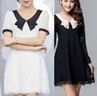 PETER PAN STYLE HOLLOW WOMEN LADIES BLACK FLORAL LACE LONG SLEEVE BODYCON DRESS