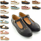 LADIES CUT OUT GEEK PUMPS SCHOOL OFFICE T BAR WOMENS FLAT SHOES SIZE 3-8