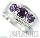 Three Purple Synthetic Amethyst  Stones .925 Sterling Silver Mens Ring