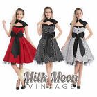 Vintage 1950s 60s Swing Rockabilly Black White Red Polka Dot Evening Party Dress