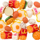 Kawaii Decoden Resin Cabochon Fast Food Burger, Chips, Egg etc 14 Pieces 10-18mm