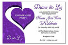Personalised Engagement Party Invitations, Invites, with Envelopes Purple Heart