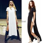Fashion Sexy Womens Open Side Cut Out Long Maxi T Shirt Prom Party Dress