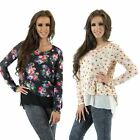 Womens New Double Layered Fine Knit and Chiffon Floral Jumper