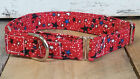 Patriotic 4th July Stars red blue MARTINGALE dog collar with leash set option