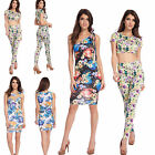 Sexy Women Clubwear Evening Party Prom Floral Sleeveless Bodycon Bandage Dress