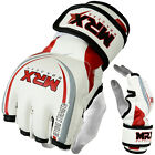 MRX MMA Gloves Grappling UFC Fight Cage Kick Martial Arts Gear Leather White/Red