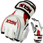 MMA Grappling Gloves UFC Cage Fight Kick MRX Martial Arts Gear Leather White Red