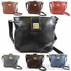 Soft Premium Leather Shoulder / Cross Body Bag Twist Clasp Lock Adjustable Strap