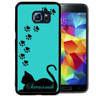 CAT SILHOUETTE RUBBER CASE FOR SAMSUNG S8 S7 S6 S5 EDGE PLUS BLUE