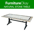 Outdoor Dining Travertine Stone Table Patio Garden Furniture Brown