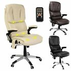 Luxury Leather Reclining Home Office Chair  Free 6 Point Massage + Heat 6 Mode