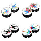 Value Pack 4 PAIRS Sparrow Swallow Acrylic Screw Flesh Tunnels Black Ear Plugs