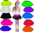 NEON TUTU 3 LAYER SKIRT  GIRLS PARTY 80's FANCY DRESS AGE 4-12 ELASTICATED WAIST